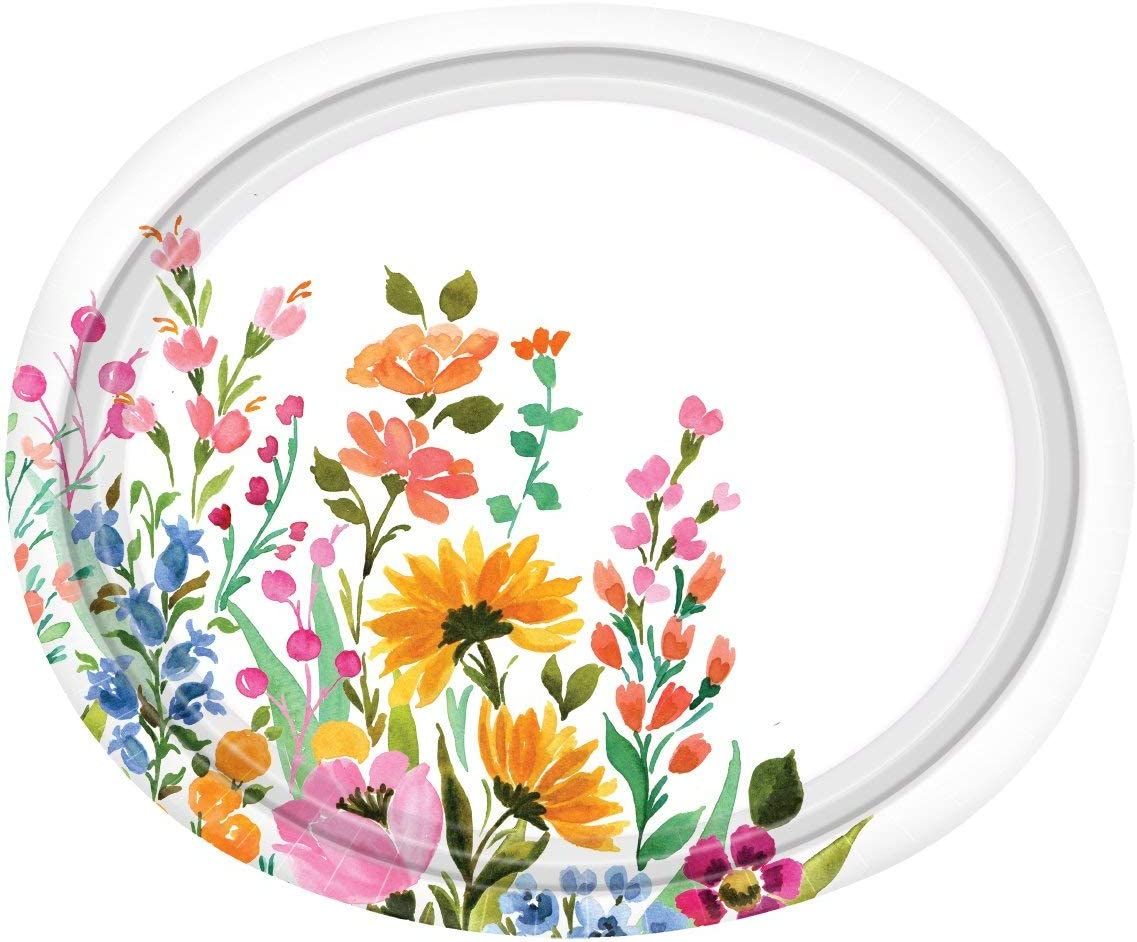 Floral Design Paper Plates - 12