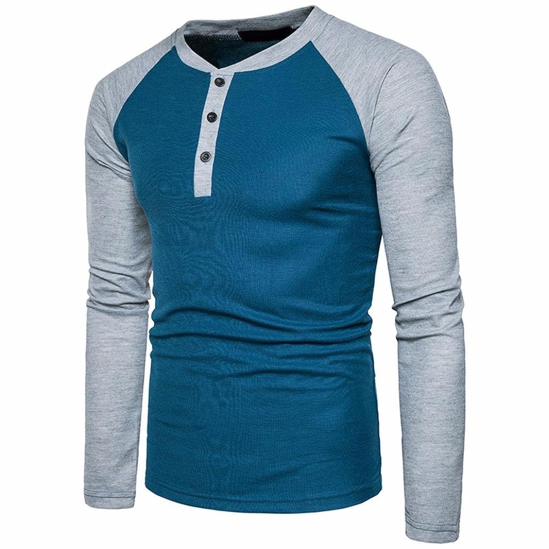 09e6d17e6 YANG-YI Mens Long Sleeve Shirt Slim Fit Shirt V Neck Patchwork Blouse  Casual Top: Clothing