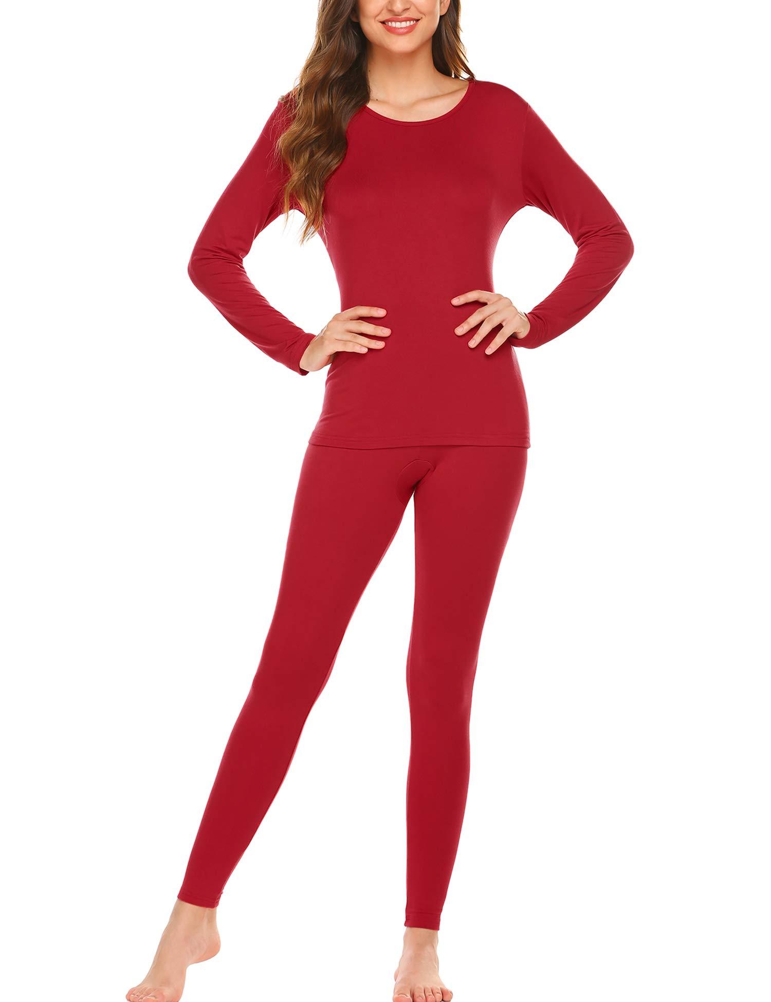 Ekouaer Thermal Underwear Women's Soft Long John Winter Base Layer Slimming Sleepwear PJs Set S-XXL (M, Red) by Ekouaer