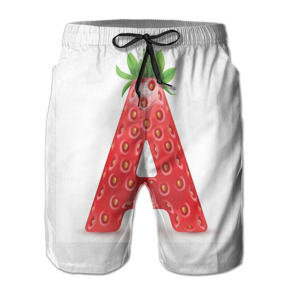 Mens Letter A In Strawberry Style With Green Leaves Alphabet Fun Food Theme Elasticized Board Shorts M