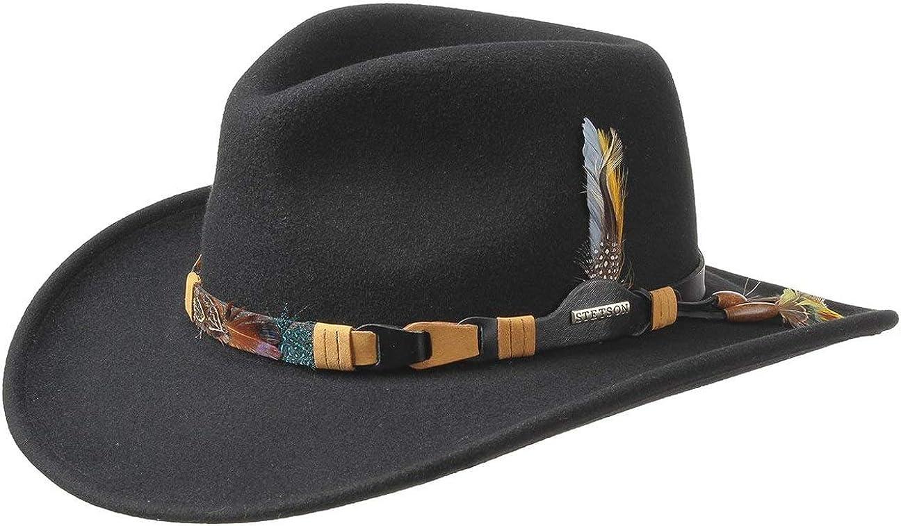 Stetson Sombrero VitaFelt Kingsley Hombre - Made in USA Banda de Plumas Indio equitación del Oeste con Piel Verano/Invierno