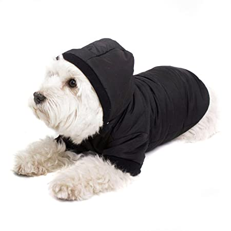 Black Dog Coat With Hood Chic Dog Anorak For Your Dog Black M