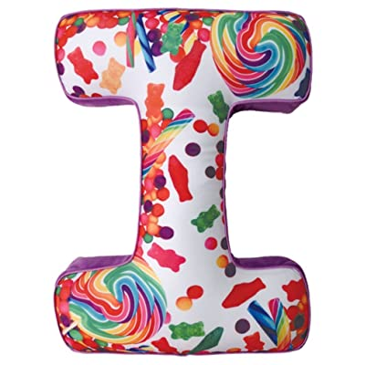 "iscream Lettermania I Initial 16"" Candy Collage Print Fleece Back Microbead Pillow: Home & Kitchen"