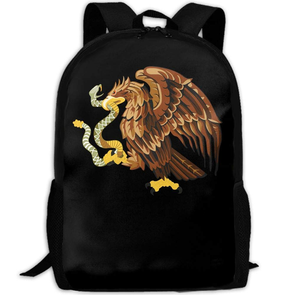 OIlXKV Mexico Snake Bald Eagle Clip Art Print Custom Casual School Bag Backpack Multipurpose Travel Daypack For Adult