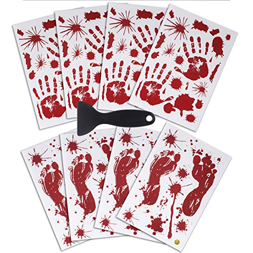 JINRUIXIN Halloween Decoration Sticker (8 Sheets) Horror Bloody Handprints and Footprints Stickers Halloween Decor Vampire Zombie Party Decals with One Plastic Scraper for Wall Window Bathroom -