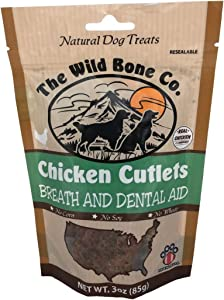 Wild Bone Company Chicken Cutlets Breath and Dental Aid Dog Treats, 3 Ounces, Made in The USA (092015)