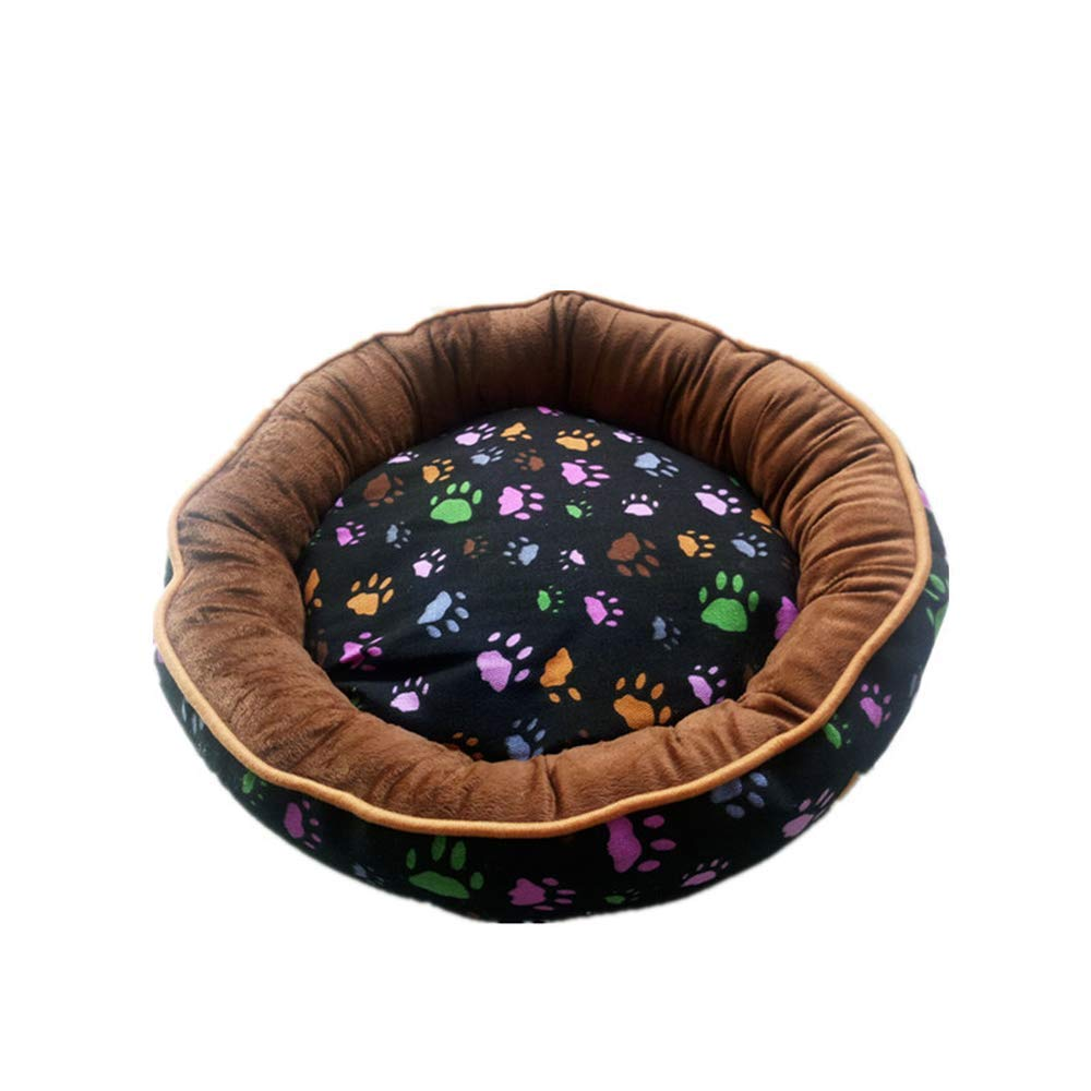 Paw Pattern M Paw Pattern M Round Dog Bed Cat Basket Detachable Washable Pet Cushion Kennel Mat for Small Medium Large Dogs Waterproof
