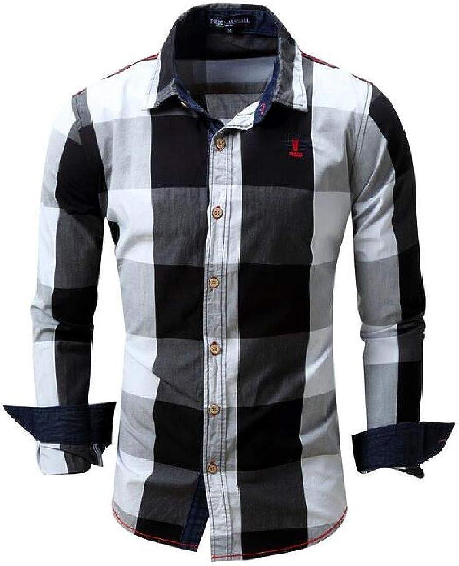 BYWX Men Long Sleeve Fashion Plaid Print Casual Button Down Slim Fit Shirts