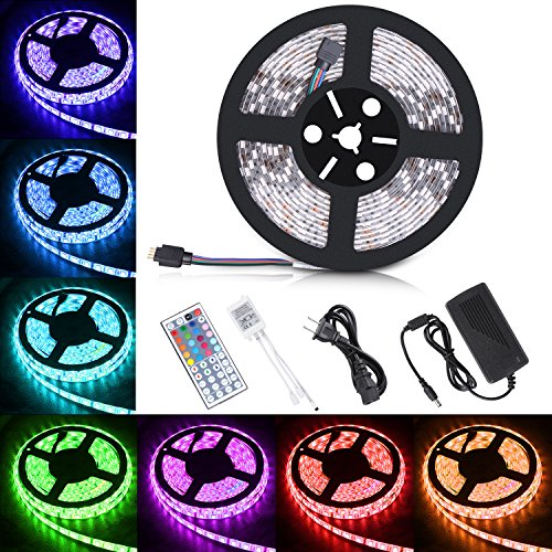 Boomile BL600 16.4ft LED Strip Lights, SMD 5050 300LEDs Waterproof RGB Light Strips Color Changing Flexible LED Light Strip Kit DC 12V Power Adapter + 44Key IR Remote Controller for Kitchen Bedroom (Led Lights Line)
