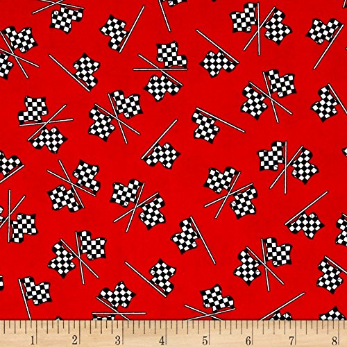 Henry Glass 0532497 Fast Track Checkered Racing Flags Fabric