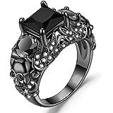YANLNER925 Gothic Black Skull Rings Red Crystal Ring Rings for Women
