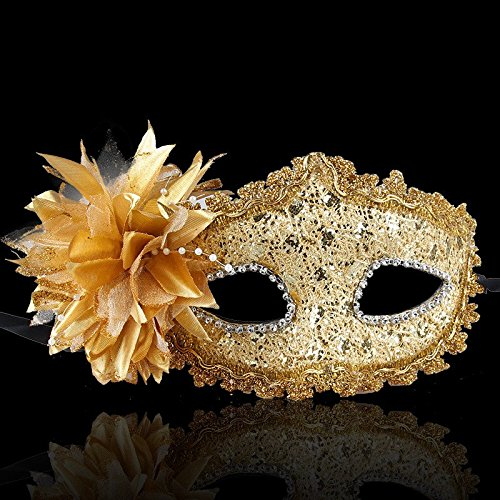 Nanier Mistery Luxury Bling Lace Sexy Charming Lady Mask, Women's Venetian Masquerade Mask Gold (Lady Costume Mask)