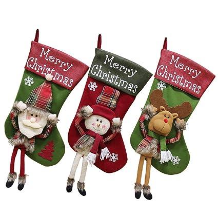 XONOR Calcetín de Navidad, tamaño Grande, 3 Piezas, 45,7 cm,