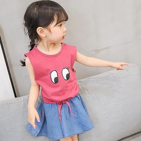dc6c729d6c7 XING GUANG Children s Suit Summer Dress New Girl s Cotton Children s Wear  Korean Wave Cotton T-shirt + Denim Skirt Two-piece