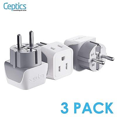 Schuko Germany, France Plug Adapter by Ceptics, Dual Input - Ultra Compact Light Weight - Usa to Russia, South Korea Travel Adaptor Plug - Type E/F (3 Pack): Electronics