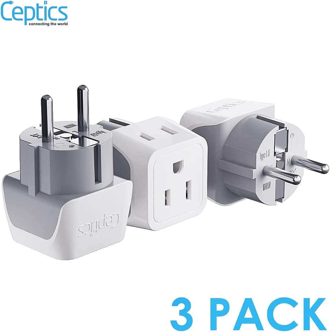 Schuko Germany, France Plug Adapter by Ceptics, Dual Input - Ultra Compact Light Weight - Usa to Russia, South Korea Travel Adaptor Plug - Type E/F (3 Pack)