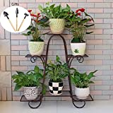 LUYIASI- Rugged and Durable Multi-Layer Storage Rack Landing Flower Stand Simple Assembly Multi-Function Shelf Home Decoration Flower Racks (Color : Brown, Size : L)