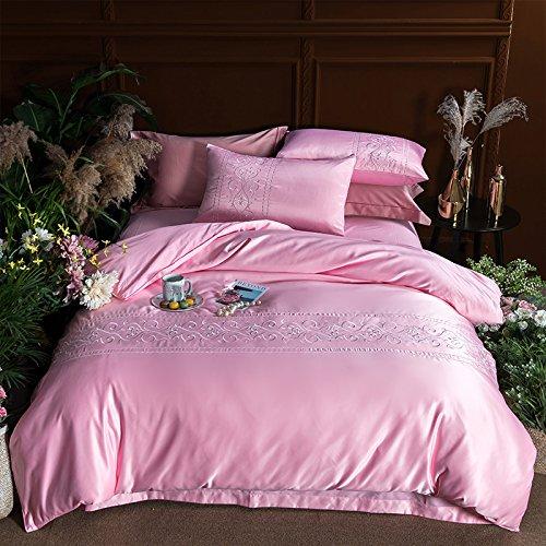 シルク 4 ピース,刺繍 単色 綿 掛け布団カバー シート 寝具 な 綿 ホテルウィンド 寝具-C B07F6811S2 Queen2|C C Queen2