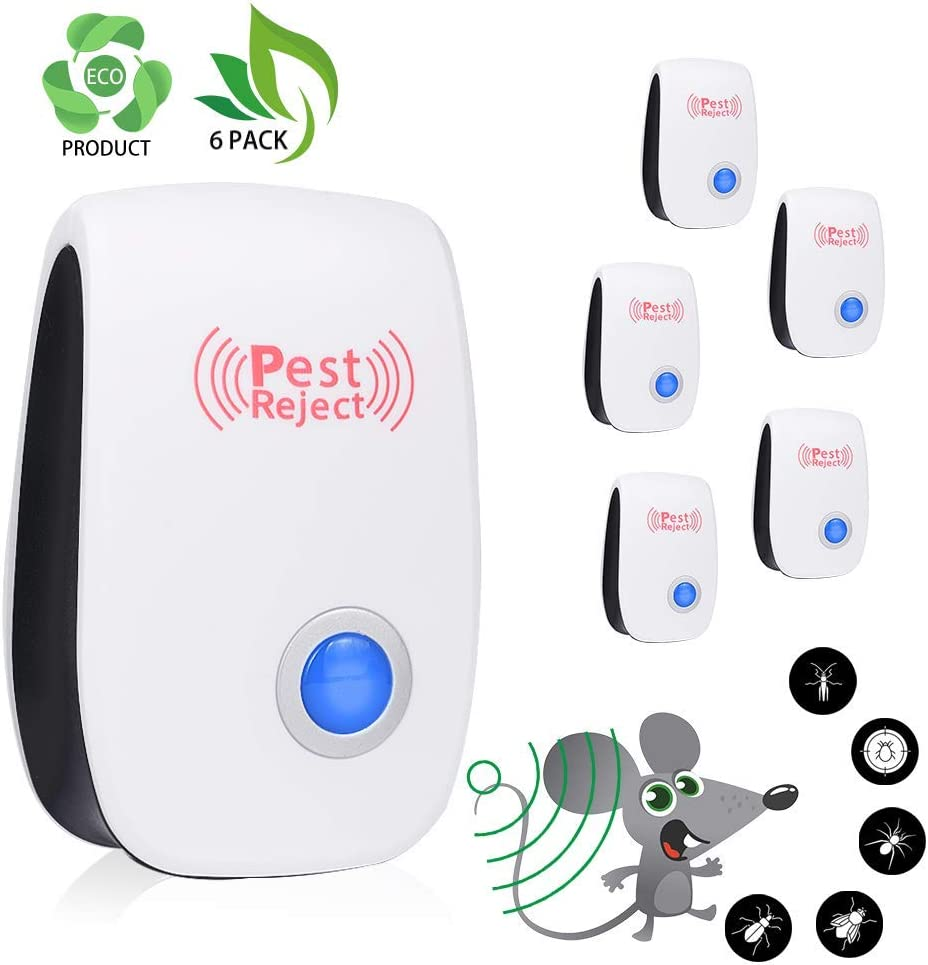 Eaff Electronic Repellent Pest Reject,Plug in Indoor Usage Pest Control Repeller to Insects Mice Ants Mosquitoes and Roach (6 Pack)