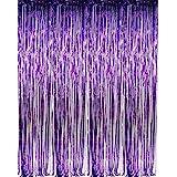 "zhcoy Set of 2 Purple Foil Fringe Door & Window Curtain Party Decoration 3' X 8' (36"" X 96"") Value Pack of 2"