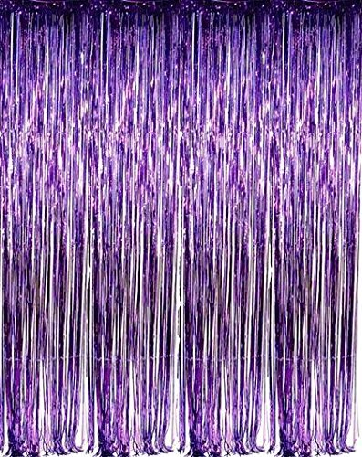 zhcoy Set of 2 Purple Foil Fringe Door & Window Curtain Party Decoration 3' X 8' (36