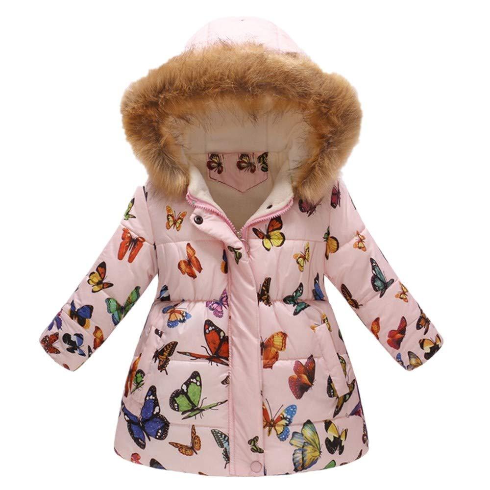 Baby Girls Hooded Snowsuit Winter Warm Light Fur Collar Hooded Down Windproof Jacket Outerwear by PLENTOP