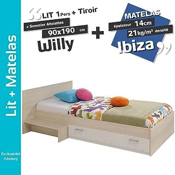 Willy - Pack Cama 90 x 190 cm con cajones + somier altolattes + colchón Ibiza: Amazon.es: Hogar