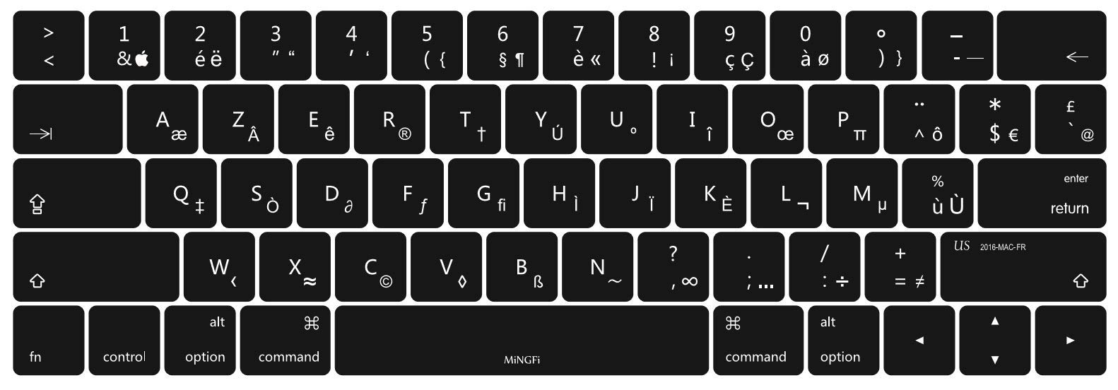 NA White Letters French Azerty Keyboard Sticker Cover Black for PC