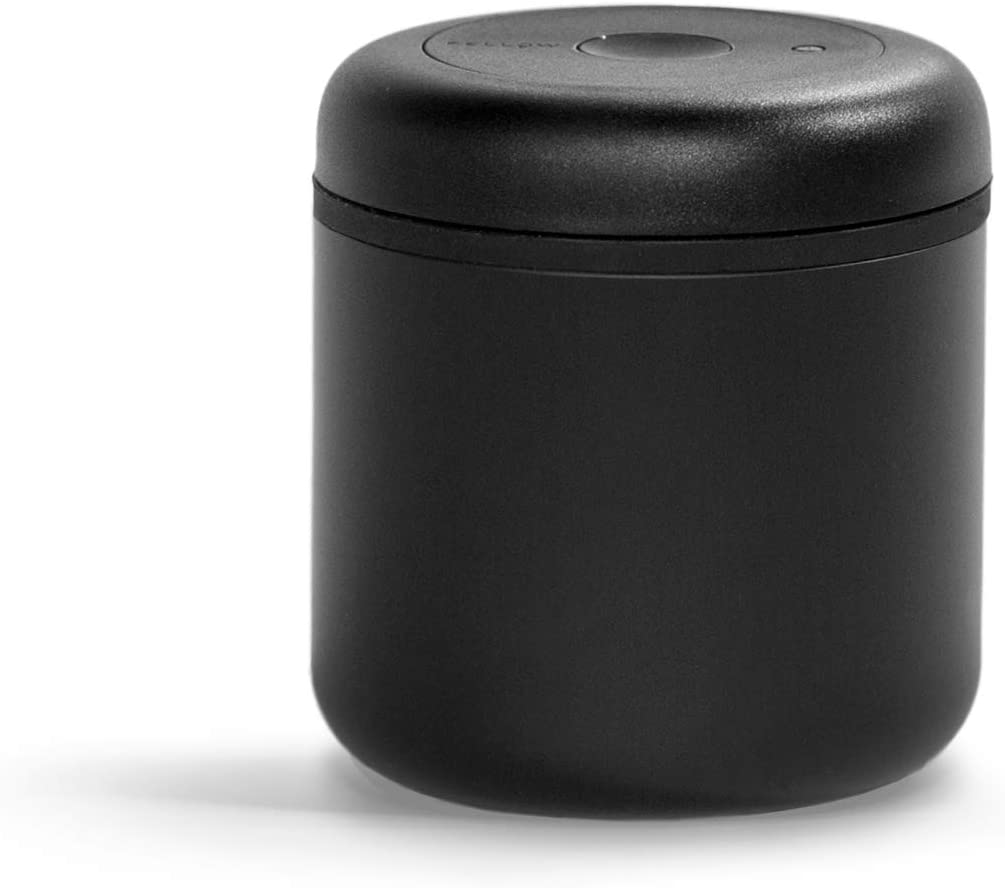 Fellow Atmos Vacuum Canister for Coffee & Food Storage, Matte Black, 0.7 liter, Integrated Vacuum Pump, Airtight Seal