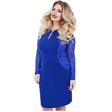 Gdfv86d 6xl Sexy Blue Lace Dress Women Plus Size Dresses