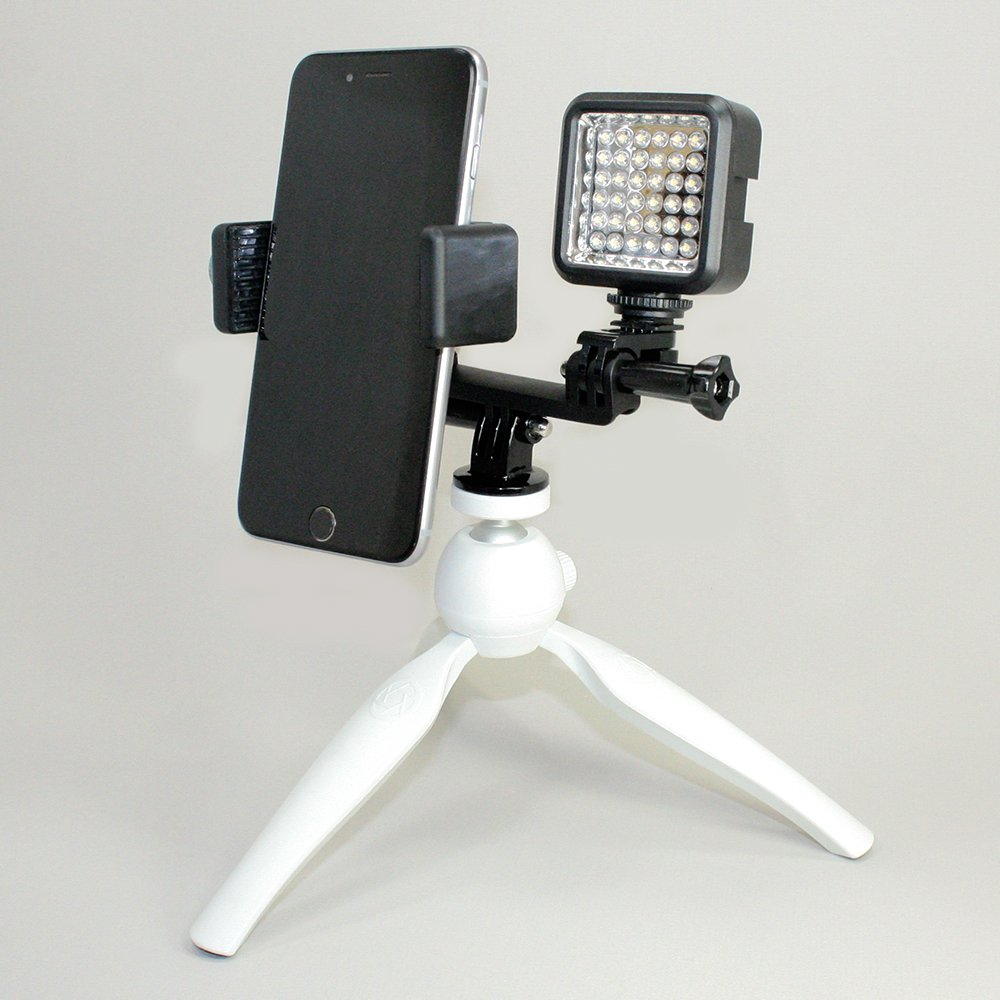 Cellfy Inc to Fit Regular Sized Devices Facebook Live Also Works with Sport Cameras. Smartphone /& LED Light Tripod Setup for Live Stream Lg. Device /& LED Tripod 720 or YouTube Livestream Gear
