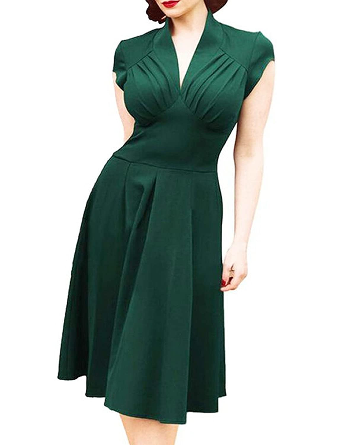 Retro 50er Jahre Damen Kurzarm Sommer Abendkleid Swing Kleider Rockabilly Cocktailkleid Stretch Business Kleid