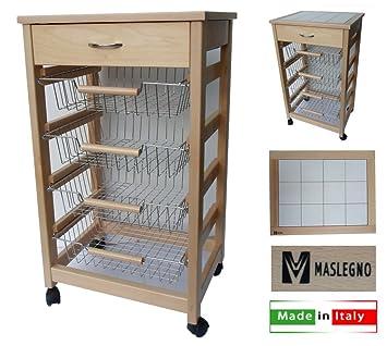 Amazon.de: MASLEGNO 380502 Küchenwagen Vesuv Esche mit Schublade ...