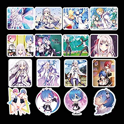 Raleighsee 50 Pcs Anime Re:Life in a Different World from Zero Personality Ram Rem Sticker Travel Suitcase Sticker Waterproof Car Sticker Doodle Decal Anime Fans Gifts: Toys & Games