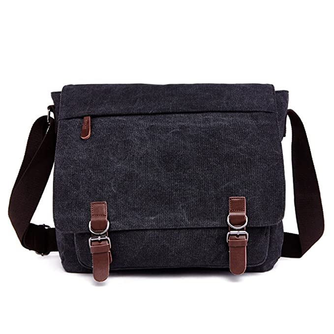 51963b45d2 Romantic Walker Vintage Canvas Laptop Messenger Bag School Bag Business  Briefcase 15.7 Inch (Black)