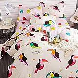 100% Cotton Kids 4Pcs Bedding Set Doodle Nature Duvet Cover Set Clip Art Bedding Sets Bird Pattern Duvet Cover Bed Sheet Pillowcases,without Comforter Queen