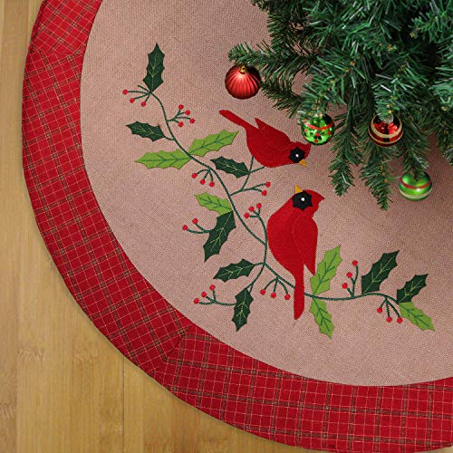 Teresas Collections 48 Traditional Red Green Gold Burlap Christmas Tree Skirt Birds Holly Leaves Embroidery with Tartan Trim, Themed with Christmas Ornaments (Not Included)
