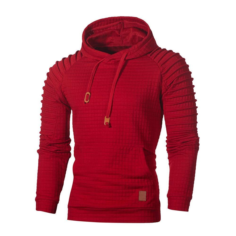 Hoodie Hooded Pullover Sweatshirt Mens Autumn Winter Long Sleeve Plaid Top Tee Outwear Blouse Sweatshirt,Red,4XL,China