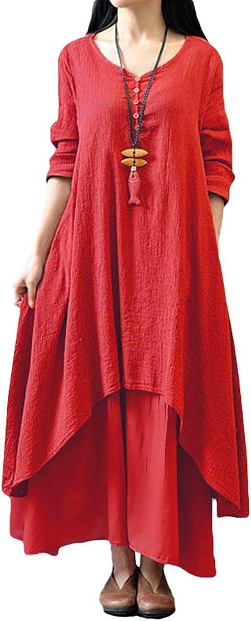 TALLA XXL. Romacci Vestido Suelto Vestido Ocasional de Las Mujeres Manga Larga Sólida Maxi Vestido Largo de Boho Rojo XXL