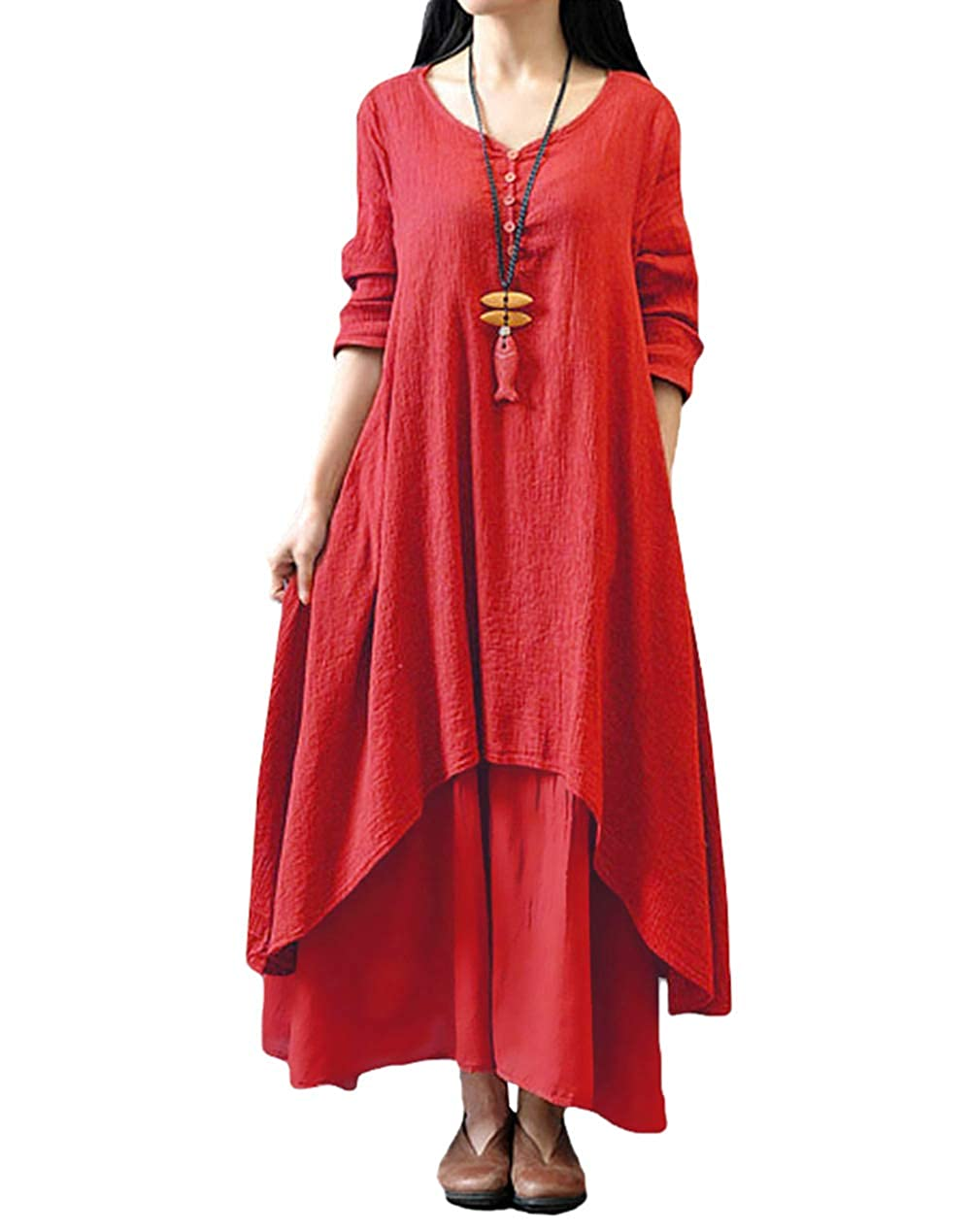 TALLA L. Romacci Vestido Suelto Vestido Ocasional de Las Mujeres Manga Larga Sólida Maxi Vestido Largo de Boho Rojo