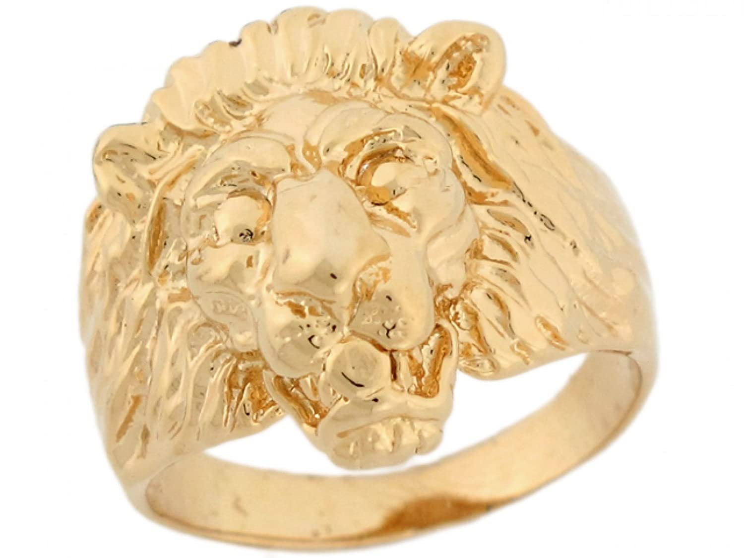 14k Solid Yellow Gold Lion Head Fancy Mens Ring|Amazon.com
