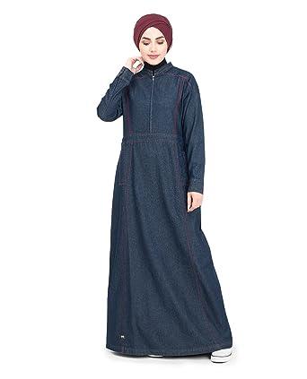 99bab3bcdc Amazon.com  Silk Route Long Zip Urban Denim Maxi Dress Jilbab XLarge 58   Clothing