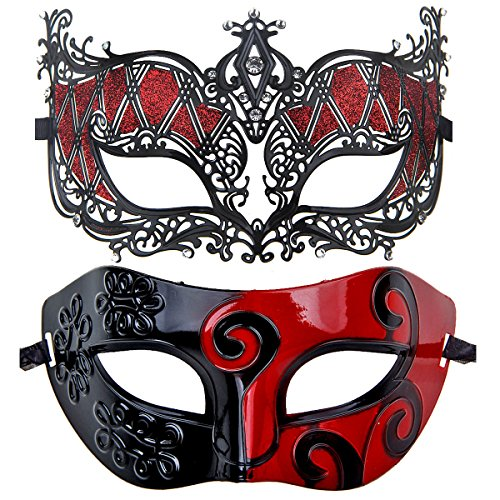 ECOSCO Couple Masquerade Mask Women Men Mardi Gras Venetian Ball Mask (Black-Red+Black-red5)