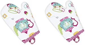 Handstand Kitchen Child's 100% Cotton Shell 'Spring Tea Party' Pair of Oven Mitts