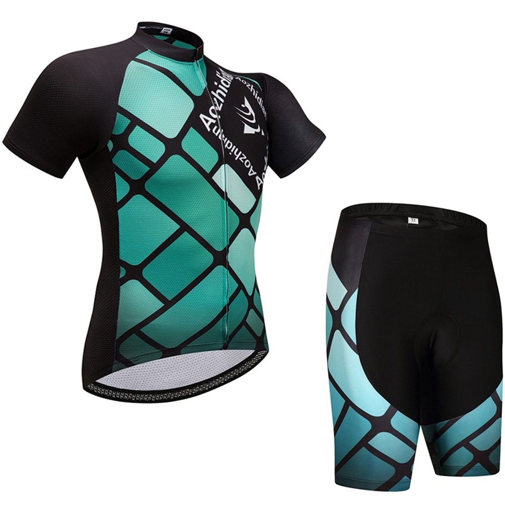 Uriah Women's Cycling Jersey Shorts Sets Short Sleeve Square Green Size 5XL(CN) by Uriah