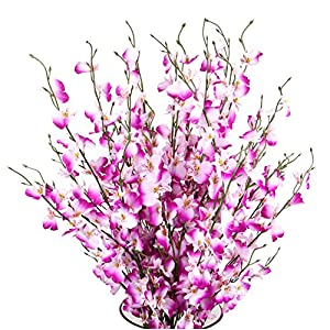 TYEERDEC Artificial Orchids Flowers, 10 Pcs Silk Fake Orchids Flowers in Bulk Orquideas Flowers Artificial for Indoor Outdoor Wedding Home Office Decoration Festive Furnishing Purple 11