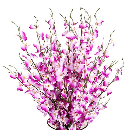 TYEERDEC Artificial Orchids Flowers, 10 Pcs Silk Fake Orchids Flowers in Bulk Orquideas Flowers Artificial for Indoor Outdoor Wedding Home Office Decoration Festive Furnishing Purple (Flowers For Office Decoration)