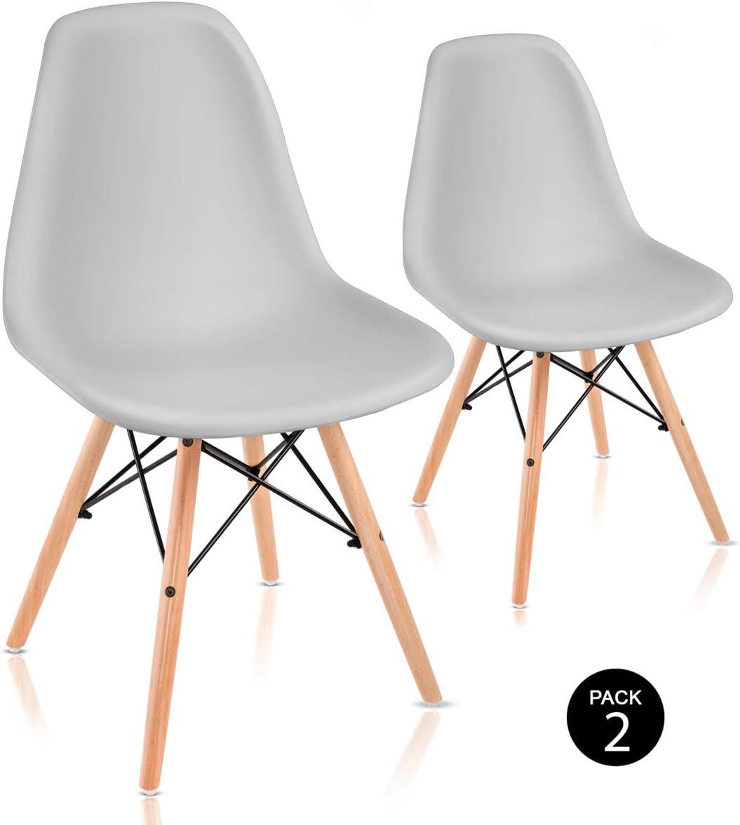 Mc Haus SENA - Pack 2 Sillas Comedor con diseño Nórdico tower color Gris claro, Silla Salón ergonómica con Asiento y Respaldo de polipropileno y patas de madera ideal para Cocina y Terraza