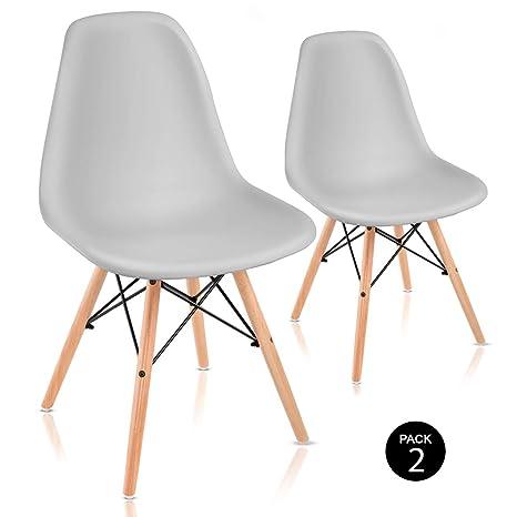 McHaus Sena Gris Claro X2 Pack de Sillas de Comedor de Diseño Nórdico, Haya y