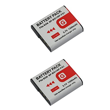 2 Piezas 1200 mAh NP-BG1 NP-FG1 NPBG1 NPFG1 Batería para Sony DSC-H3 DSC-H7 DSC-H9 DSC-H10 DSC-H20 DSC-H50 DSC-H55 DSC-H70 (2 pcs Battery)